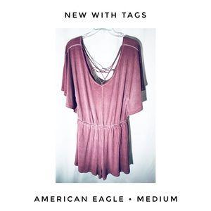 American Eagle Medium Pink Romper Soft Comfy NWT